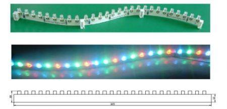 Félmerev 27 db RGB LED-es élvilágító szalag, 9 LED-enként darabolható