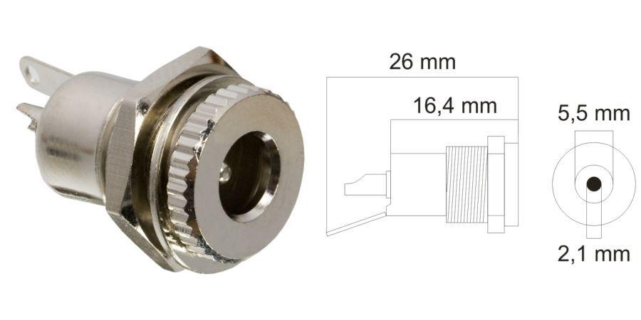 DC aljzat, beépíthető, fém, 5,5,x2,1mm (05155)