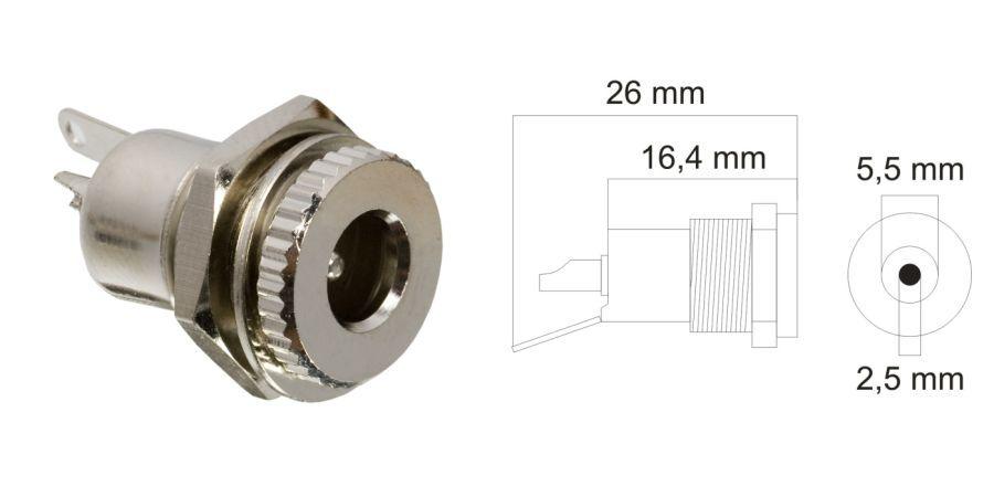DC aljzat, beépíthető, fém, 5,5,x2,5mm (05156)
