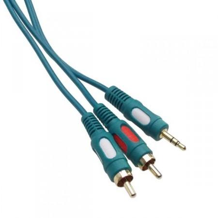 2RCA-3,5mm 10m szt. jack kábel aranyozott csatlakozókkal (7613TW)