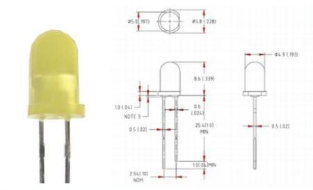 5mm sárga villogó LED