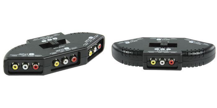 Audio video közösítő kapcsolóval 3 bemenet - 1 kimenet (AVSWITCH-6-A) AKCIÓS !!!!!!