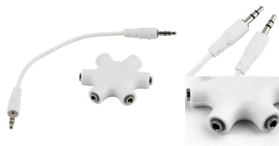 Audio 3,5 JACK elosztó 5-felé fehér