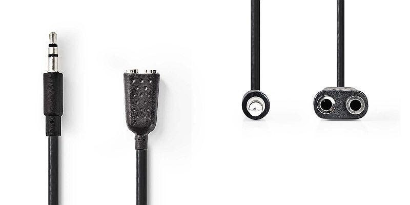 3,5 mm-es sztereo elosztó kábel, 0,20 m fekete (VLAP22100B02) AKCIÓS !!!!!!