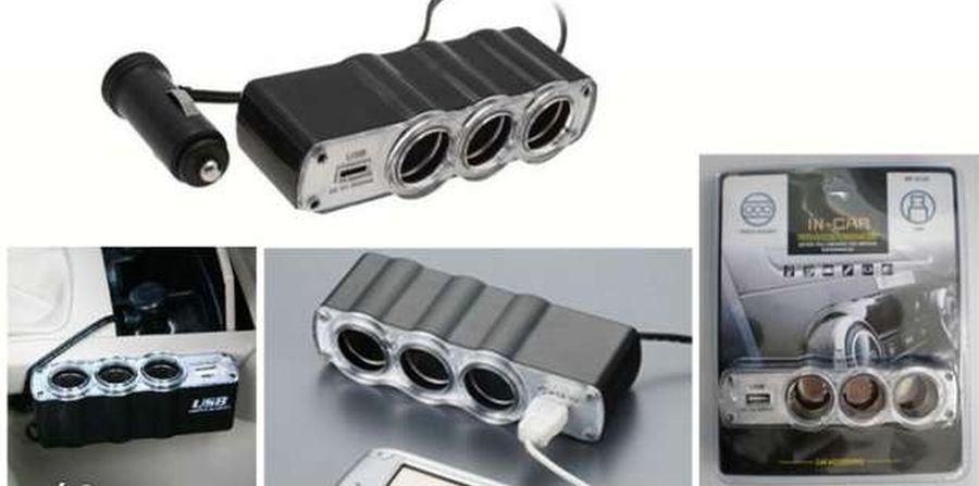 Autós szivargyújtó elosztó 3db 12 / 24V plussz 1db USB 5V aljzat AKCIÓS !!!!!!!
