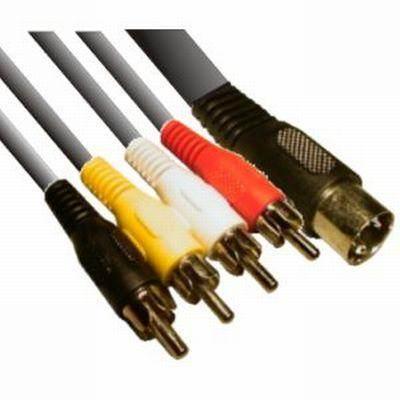 5 pólusú DIN- 4 RCA dugóval szerelt kábel. Hossza: 1,5m (CABLE-306)