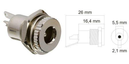 DC aljzat, beépíthető, fém, 5,5,x2,1mm (05155) KAPHATÓ !!!!!