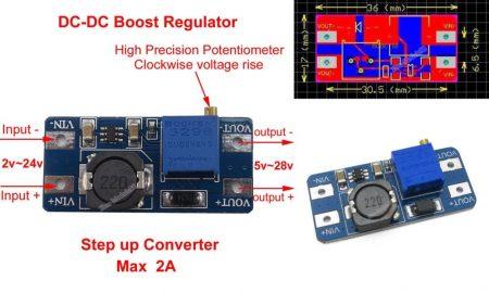 DC – DC felfelé állítható feszültség stabilizátor Step - Up 2A (hut_090322) AKCIÓS !!!!!! KAPHATÓ !!!!!