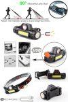 Fejlámpa, Power LED, COB LED, USB Li-Ion akku, Mágnes talp RENDELÉS ALATT !!!!!
