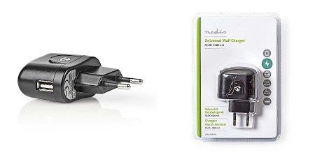 USB hálózati töltő: Univerzális 1xUSB aljzat, fekete, max kimeneten 1A, (WCHAU100ABK) KÜLSŐ RAKTÁRON !!!!! 3-4 munkanap