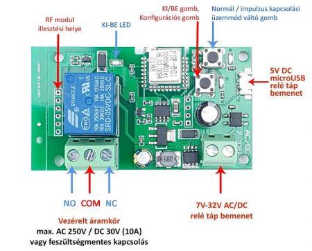 SmartWise 5V-32V egy áramkörös, Sonoff kompatibilis, WiFi-s, távvezérelhető relé, kontakt kapcsolással és impulzus kapcsolás RENDELÉS ALATT !!!!!!