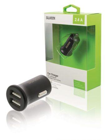Autós szivargyújtó adapter 2 USB aljzattal 5V 2400mA (CCHAU240ABK) AKCIÓS !!!!! RENDELÉSRE !!!!!