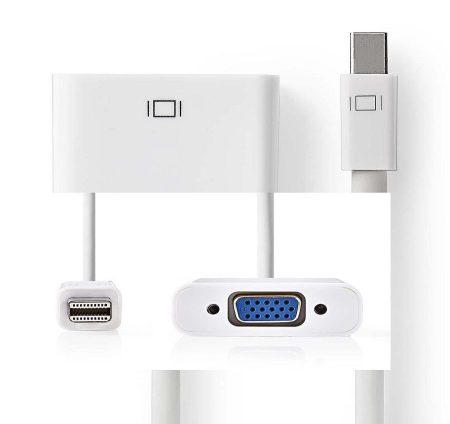 Mini DisplayPort dugó - VGA aljzat, 0,2 m, Fehér (CCGB37850WT02) KÜLSŐ RAKTÁRON !!!!!! 1-2 munkanap