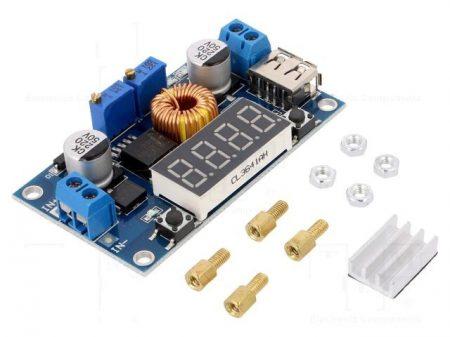 DC – DC lefelé állítható áram és feszültség stabilizátor 0-5A -ig, digitális kijelzővel, USB kimenettel. AKCIÓS !!!!! KAPHATÓ !!!!!!