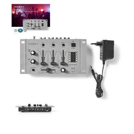 DJ Keverő, 3 Sztereócsatorna, Hangátúsztató (crossfader), Talkover-funkció (MIXD050GY) RENDELÉSRE !!!! 2-3 munkanap (előre utalással)