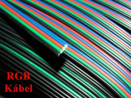 RGB szalag kábel 4x0.5mm2 fekete, zöld, piros, kék.  AKCIÓS !!!! RENDELÉS ALATT !!!!!!