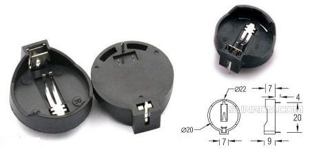 CR2032 3V Li-elem tartó műanyag tok, furatszerelt KAPHATÓ !!!!!