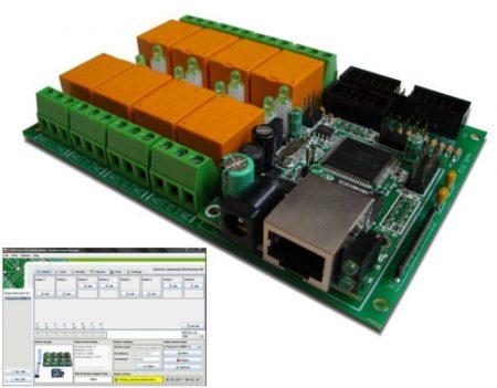 Otthoni automatizálás LAN 8 relé 8 analóg bemenet, hőmérsékletmérés LM35DZ, feszültségmérés, és vezérlés is. RENDELÉSRE !!!!! 6-8 munkanap (előre utalással)