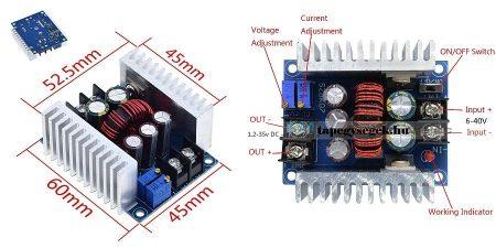 DC – DC lefelé állítható áram és feszültség stabilizátor 0,2-20A -ig 300W RENDELÉSRE !!!!!!!
