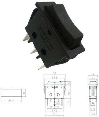 Billenő kapcsoló visszaálló, 1 áramkör 3 állású, on-of-on (5483) KAPHATÓ !!!!!