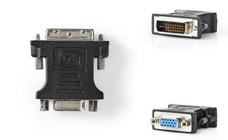 VGA aljzat - DVI-D dugó 24+1 fordító adapter (CCGP32902BK) AKCIÓS !!!! RENDELÉS ALATT !!!!!