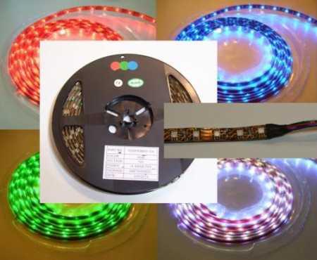 5050 SMD színes RGB LED szalag, IP20 beltéri, 60Led/méter RENDELÉSRE !!!!!! 2-3 munkanap