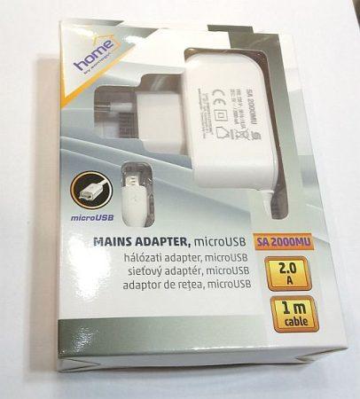 USB hálózati töltőt, micro USB dugóval 1m, fehér, kimeneten max 2A. AKCIÓS !!!!!! KIFOGYOTT !!!!!