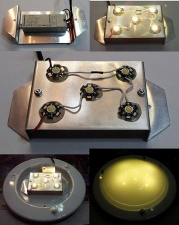 LED lámpatest betét meleg-fehér 5x1W  alúmíniumon 350 lumen !!!! AKCIÓS !!!!!
