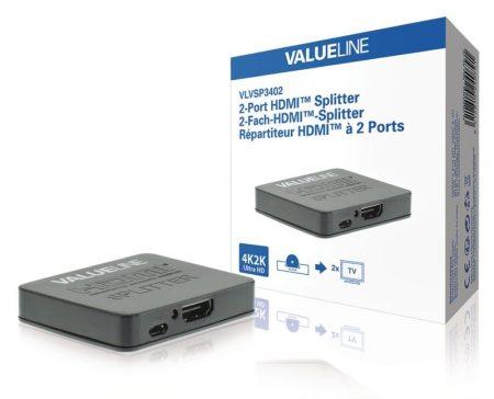 2-Port HDMI Elosztó Fekete, Full HD, 3D, 4K2K Colour 1 be-2 ki (VLVSP3402) RENDELÉSRE 1-2 munkanap