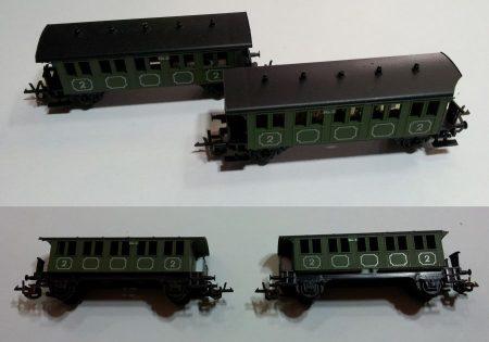 TT vagon 2db régi kocsi vasútmodell eredeti állapot ELADVA !!!!!!!