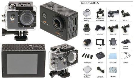 CAMLINK 4K Ultra Hd Akció Kamera Wi-Fi Fekete Ingyenes szállítással!!!! AKCIÓS !!!!! A készlet erejéig!! RENDELÉSRE !!!! 2-3 munkanap
