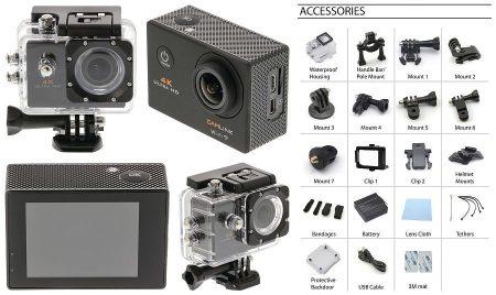 CAMLINK 4K Ultra Hd Akció Kamera Wi-Fi Fekete Ingyenes szállítással!!!! AKCIÓS !!!!! A készlet erejéig!! KÜLSŐ RAKTÁRON !!!!! 1-2 munkanap
