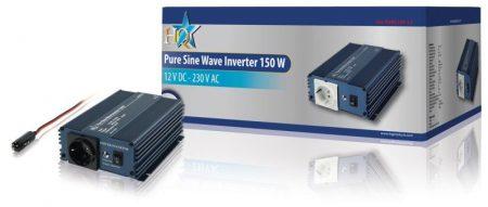 Inverter Tiszta szinuszos 12 VDC AC 230 V 300/150 W (HQ-PURE150-12) RENDELÉSRE !!!!!! 2-3 munkanap (előre utalással)