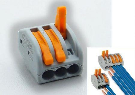Oldható vezetékösszekötő 3-as, 4mm2-ig, 32A-ig (WAGO) RENDELÉS ALATT !!!!!