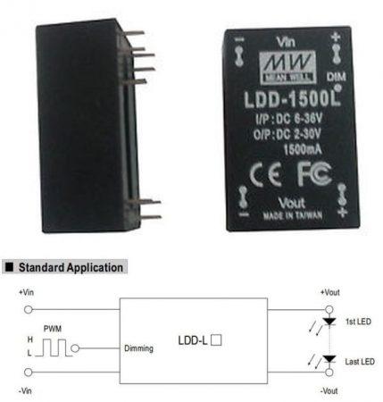 DC - DC fix áramú LED tápegység, 1500mA, 45W-ig, 2-30V-között, dimmelhető. (LDD-1500L) RENDELÉSRE !!!!!!