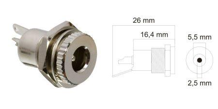 DC aljzat, beépíthető, fém, 5,5,x2,5mm (05156) RENDELÉS ALATT !!!!!