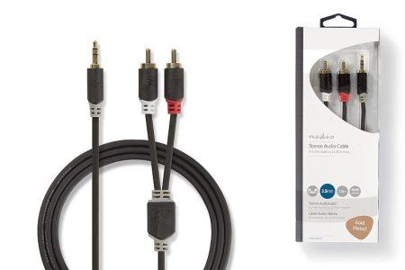 2RCA-3,5mm 10m szt. jack kábel aranyozott fém csatlakozók, oxigénmentes réz kábel. (CABW22200AT100) KÜLSŐ RAKTÁRON !!!!! 1-2 munkanap