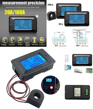 AC 110-250V 0-100A Nagyméretű LCD kijelző digitális Volt-Amper-Watt-Wattóra-Teljesítmény tényező-Frekvencia mérő műszer RENDELÉS ALATT !!!