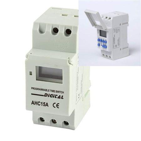 AHC15A sorozatú heti digitális időkapcsoló DIN sines 230V AKCIÓS !!!! KIFOGYOTT !!!!!