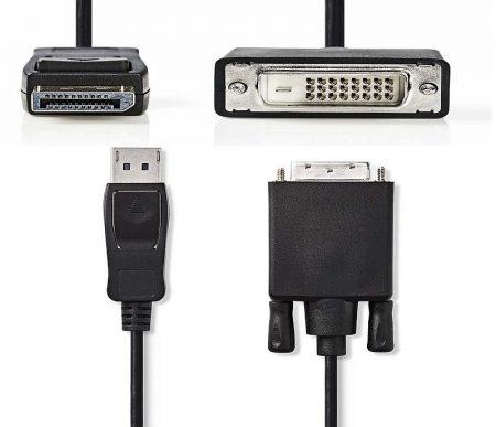 DisplayPort dugó -  DVI-D 24+1 pólusú dugó, 2,0 m, Fekete (CCGP37200BK20) KÜLSŐ RAKTÁRON !!!!!!!