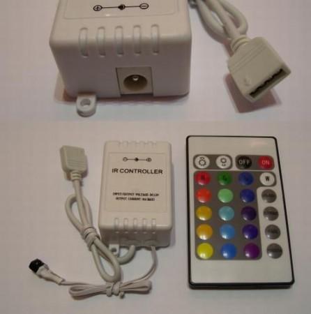 RGB LED-szalag vezérlő távirányítós 12V-os.(negatív vez.) AKCIÓS !!!!!! RENDELÉS ALATT !!!!!