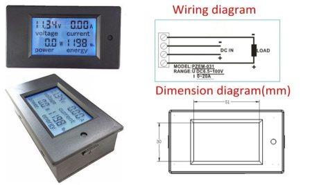 DC 6,5-100V 0-20A Dupla LCD kijelző digitális voltmérő, ampermérő, teljesítménymérő, kapacitásmérő modul RENDELÉS ALATT !!!!