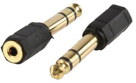 6,3mm sztereó dugó - 3,5mm jack aljzat adapter, aranyozott (AC-007GOLD) KAPHATÓ !!!!!!