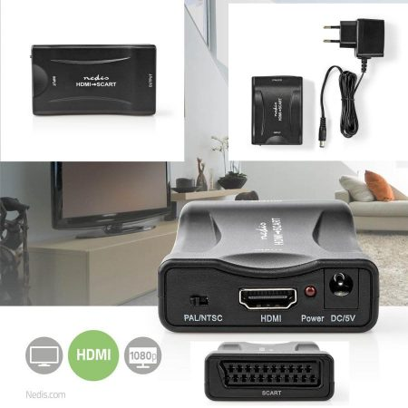 HDMI 1080p bemenet - SCART analóg audió-video kimenet, 5V-os tápegységgel (VCON3460BK) KÜLSŐ RAKTÁRON !!!! 1-2 munkanap