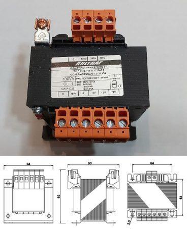 Transzformátor Bemenet 230V/380V/400V 100VA - Kimenet 260V, 6V, 12V,  24V0 KAPHATÓ !!!!!!