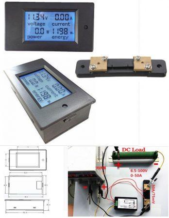 DC 6,5-100V 0-50A Dupla LCD kijelző digitális voltmérő, ampermérő, teljesítménymérő, kapacitásmérő modul RENDELÉSRE !!!!!!