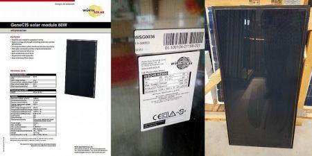 80W Würth Napelem fekete eloxált alumínium kerettel (WSG0036E080) AKCIÓS !!!!! KIFOGYOTT !!!!!