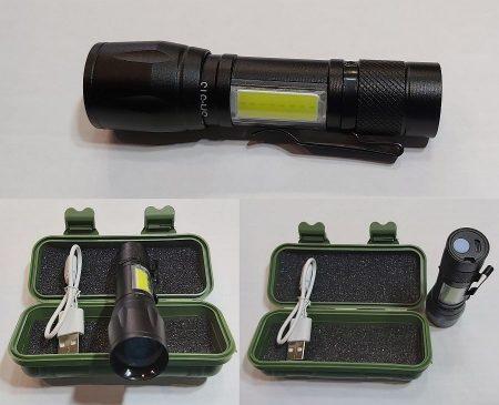 Mini POWER LED-es LÁMPA és COB led munkalámpa, állítható fókusszal 200 lumenes USB Li-Ion akkumulátor fekete alu ház AKCIÓS !!!!!! KAPHATÓ !!!!!!