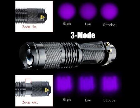 POWER LED-es hordozható UV fényvető (fényágyú) alumínium házas, ZOOM funkcióval !!!!! RENDELÉS ALATT !!!!!!!