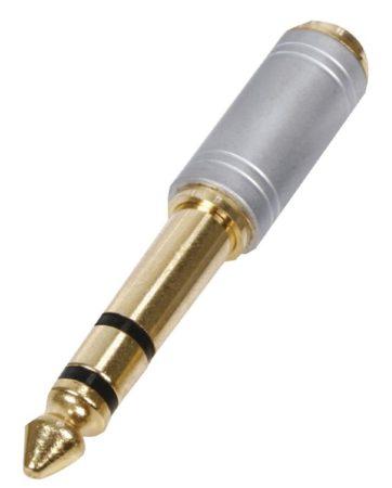 6,3mm sztereó dugó - 3,5mm jack aljzat adapter, aranyozott profi (HQS-SAC007) KAPHATÓ !!!!!!